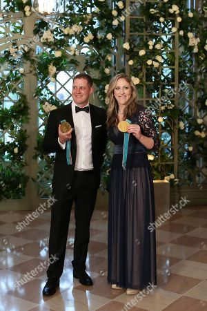 Stock Image of John Shuster, Meghan Duggan at the White House to attend a state dinner, Washington DC