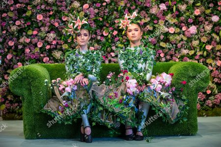 Harrogate flower show yorkshire stock photos exclusive shutterstock dancer alison parsons georgia paton durrant wear flower dresses in living room of the green mightylinksfo