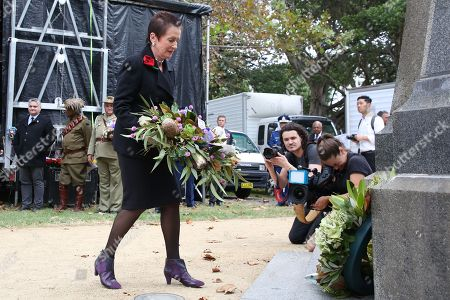 Lord Mayor Clover Moore lays a wreath at Redfern Park cenotaph.