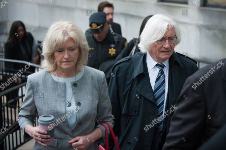 Kathleen Bliss (L) and Thomas Mesereau, Jr., attorneys for US entertainer Bill Cosby, arrive at the Montgomery County Courthouse in Norristown, Pennsylvania, USA, 25 April 2018 for the first day of jury deliberations in Cosby's retrial regarding charges stemming from an alleged sexual assault in 2004. Cosby has been charged with Aggravated Indecent Assault, which is a second degree felony, by the Pennsylvania prosecutor.