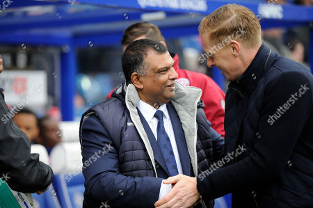 Queens Park Rangers owner Tony Fernandes greets Birmingham City?s manager Garry Monk before the Sky Bet Championship match between Queens Park Rangers and Birmingham City at Loftus Road Stadium in London. 28 Apr 2018
