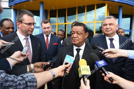 President of the Federal Democratic Republic of Ethiopia Mulatu Teshome Wirtu (C), President of the Management Board of the Pulawy chemical plant Jacek Janiszek (R) and his deputy Andrzej Skwarek (L) speaks with the media during a visit to the Pulawy chemical plant in Pulawy, east Poland, 25 April 2018. President of Ethiopia continues his two-day official visit to Poland.