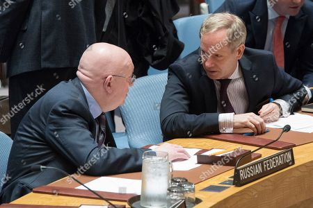 Vassily Nebenzia, Olof Skoog. Russian Ambassador to the United Nations Vassily Nebenzia, left, speaks to Swedish Ambassador to the United Nations Olof Skoog after a Security Council meeting on the situation in Syria, at United Nations headquarters