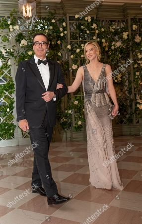 Stock Picture of United States Secretary of the Treasury Steven Mnuchin and Ms. Louise Linton arrive for the State Dinner