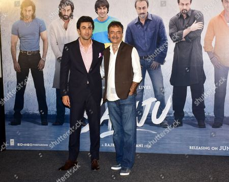 Indian film actor Ranbir Kapoor with director Rajkumar Hirani