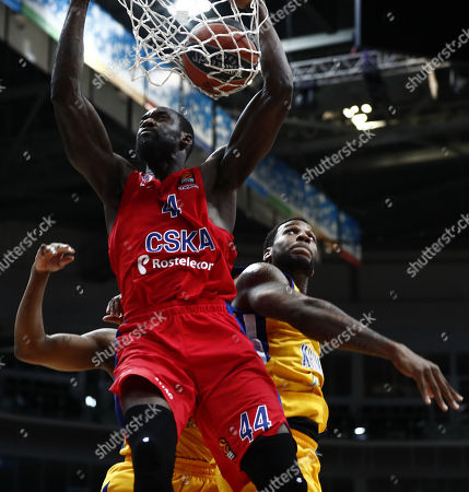 Stock Picture of Othello Hunter (C) of CSKA Moscow in action against Thomas Robinson (R) of Khimki Moscow Region during the Euroleague basketball playoff match between CSKA Moscow and Khimki Moscow Region in Moscow, Russia, 25 April 2018.
