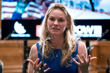 Winter Olympic cross-country skier gold medalist Jessie Diggins speaks about the negative impact climate change is having on winter sports, in Washington