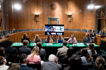 Stock Picture of Jessie Diggins, David Wise, Arielle Gold, Maddie Phaneuf, Stacey Cook. From left, Winter Olympians freestyle skier David Wise, biathlete Maddie Phaneuf, halfpipe snowboarder Arielle Gold, Cross-country skier Jessie Diggins, and alpine skier Stacey Cook speak about the negative impact climate change is having on winter sports, in Washington