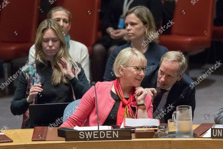 Margot Wallstrom, Olof Skoog. Swedish Foreign Minister Margot Wallstrom, foreground, speaks to Swedish Ambassador to the United Nations Olof Skoog during a Security Council meeting on peace-building and sustaining peace, at United Nations headquarters