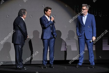 Jim Gianopulos, Tom Cruise and Christopher McQuarrie