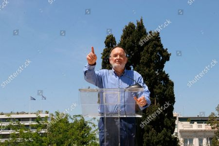 Panagiotis Lafazanis, President of Political Party Popular Unity gives a speech against austerity measures and the sell off of power plants.