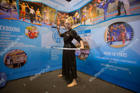 YouTube star, Jesse-Jane McParland seen during a photo shooting at the World Association of Kickboxing Organisations (WAKO)
