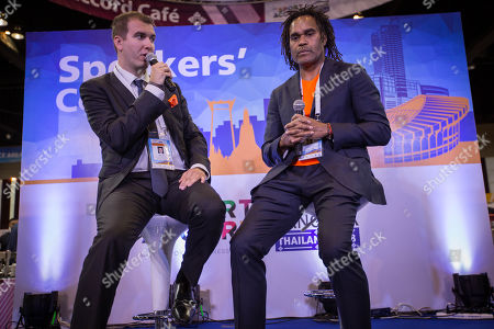 Global ambassador of Federation Internationale de Teqball (FITEQ) Christian Karembeu seen at the Speakers Corner stand during an interview on Teqball Sport