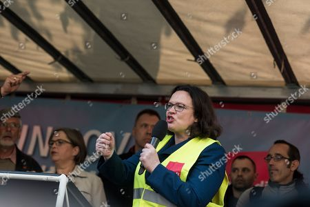Andrea Nahles, chairwoman of the Social Democratic Party (SPD) speaks during the demonstration against the awarding of the Axel Springer Award 2018 to Amazon founder Jeff Bezos for his 'visionary entrepreneurship'