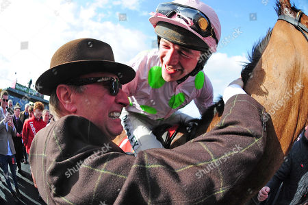 PUNCHESTOWN. Day 3. FAUGHEEN and David Mullins are greeted by an emotional RICH RICCI after winning for trainer Willie Mullins.
