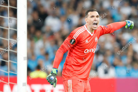 Stock Image of Olympique Marseille's Yohann Pele react during the UEFA Europa League semi final, first leg soccer match between Olympique Marseille and RB Salzburg at the Velodrome Stadium in Marseille, southern France, 26 April 2018.