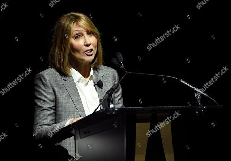Stacey Snider, chairman and CEO of 20th Century Fox Film, addresses the audience during the 20th Century Fox presentation at CinemaCon 2018, the official convention of the National Association of Theatre Owners, at Caesars Palace on Thurssday, in Las Vegas