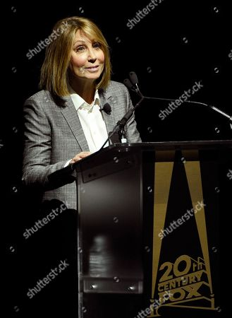 Stacey Snider, chairman and CEO of 20th Century Fox Film, addresses the audience during the 20th Century Fox presentation at CinemaCon 2018, the official convention of the National Association of Theatre Owners, at Caesars Palace, in Las Vegas