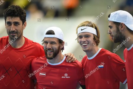 From left to right: Austrian tennis players Philipp Oswald and Jurgen Melzer with Russian tennis players Andrey Rublev and Karen Khachanov before the match. April 07, 2018. Russia, Moscow. Photo credit: Dmitry Lebedev/Kommersant
