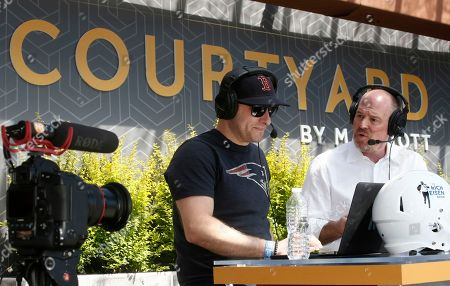 Host Rich Eisen, on right, talks with co-host Chris Brockman as Courtyard, the Official Hotel of the NFL, welcomes fans to the 2018 NFL Draft with live viewing of the Rich Eisen Show in Dallas