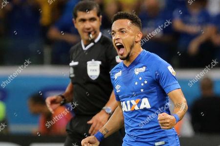 Cruzeiro's Rafael da Silva Francisco celebrates after scoring against Universidad de Chile, during their Copa Libertadores match at the Mineirao stadium in Belo Horizonte, Brazil, 26 April 2018.