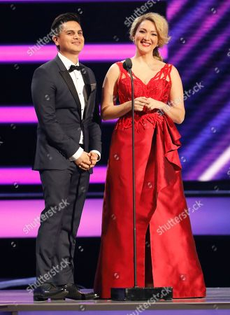Regulo Caro, Erika Ender. Regulo Caro, left, and Erika Ender present the award for Latin pop artist of the year, duo or group at the Billboard Latin Music Awards at the Mandalay Bay Events Center, in Las Vegas
