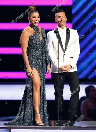 Rashel Diaz, Jorge Bernal. Rashel Diaz, left, and Jorge Bernal present the award for Latin pop song of the year at the Billboard Latin Music Awards at the Mandalay Bay Events Center, in Las Vegas