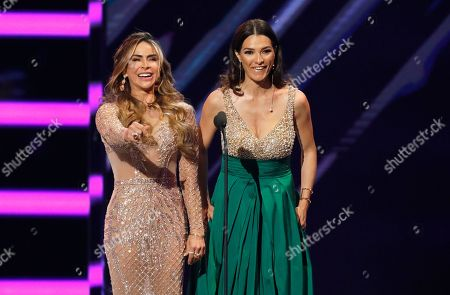 Aylin Mujica, Candela Ferro. Aylin Mujica, left, and Candela Ferro present the award for social artist of the year at the Billboard Latin Music Awards at the Mandalay Bay Events Center, in Las Vegas