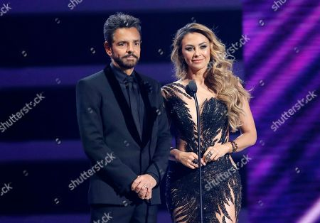Eugenio Derbez, Aracely Arambula. Eugenio Derbez, left, and Aracely Arambula present the award for hot Latin song of the year at the Billboard Latin Music Awards at the Mandalay Bay Events Center, in Las Vegas