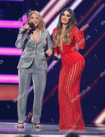 Ana Maria Polo, Catherine Siachoque. Ana Maria Polo, left, and Catherine Siachoque present the award for Latin rhythm song of the year at the Billboard Latin Music Awards at the Mandalay Bay Events Center, in Las Vegas