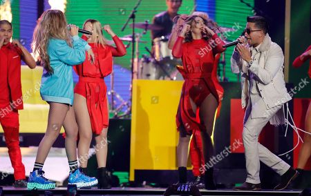 "Sofia Reyes, De La Ghetto. Sofia Reyes, left, and De La Ghetto, right, perform ""1, 2, 3"" at the Billboard Latin Music Awards at the Mandalay Bay Events Center, in Las Vegas"