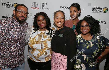 Laz Alonzo, Latricea Adams, Amanda Seales, Grace Mahary, Kerene Taylor. IMAGE DISTRIBUTED FOR TOYOTA - Actor and Toyota Green Coalition Member Laz Alonzo left, LaTricea Adams of Black Millennials for Flint, actress/comedian Amanda Seales moderator, Grace Mahary of Project Tsehigh and Kerene Taylor of Green 4 All pose for a photo at the Keepin' It Green: A Conversation on Environmental Gentrification during Broccoli Con at Google Headquarters DC, in Washington D.C