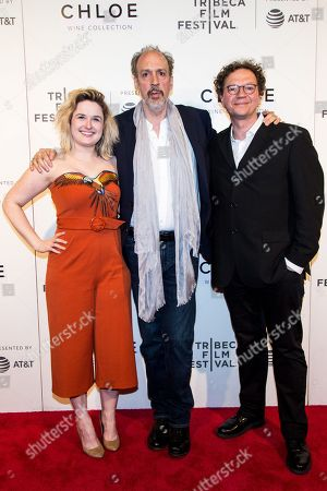 Stock Image of Film director Cara Cusumano (L), writer and performer Kent Jones (C) and Frederick Boyer (R) pose for photos at the 2018 Tribeca Film Festival in New York, New York, USA, 26 April 2018.
