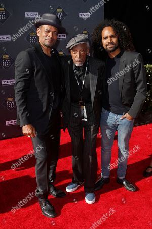 """Stock Picture of Mario Van Peebles, Melvin Van Peebles. Mario Van Peebles, from left, Melvin Van Peebles and guest arrive at the screening of """"The Producers"""" at the 2018 TCM Classic Film Festival Opening Night at the TCL Chinese Theatre, in Los Angeles"""