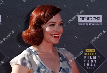 """Alicia Malone arrives at the screening of """"The Producers"""" at the 2018 TCM Classic Film Festival Opening Night at the TCL Chinese Theatre, in Los Angeles"""