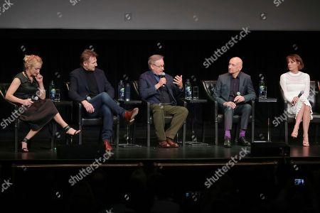 "Caroline Goodall, Liam Neeson, Steven Spieberg, Ben Kingsley, Embeth Davidtz. Actors Caroline Goodall, from left, Liam Neeson, director Steven Spieberg, Ben Kingsley, and Embeth Davidtz attend the ""Schindler's List"" 25th anniversary screening during the 2018 Tribeca Film Festival at the Beacon Theatre, in New York"