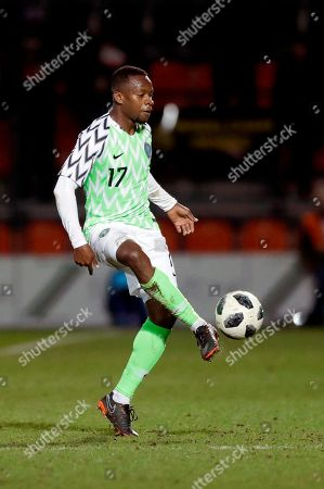 On, Nigeria's Ogenyi Onazi kicks the ball during the international friendly soccer match between Serbia and Nigeria at The Hive Stadium in London