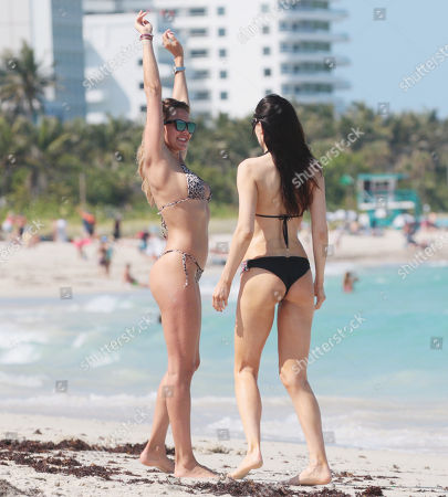 Editorial image of Tetyana Veryovkina and Jurgita Marcinkeviciute out and about, Miami Beach, USA - 26 Apr 2018