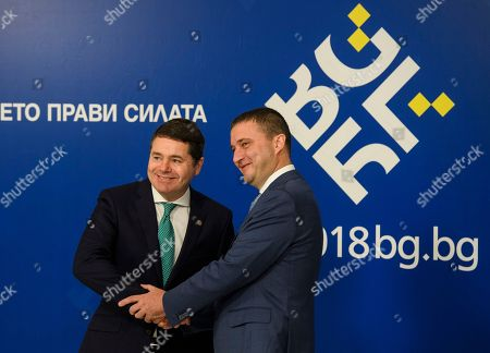 Bulgarias Finance Minister Vladislav Goranov (R) welcomes President of the European Central Bank (ECB) Mario Draghi (L) during the European Union's (EU) informal meeting of the economic and financial affairs ministers (ECOFIN) at the National Palace of Culture in Sofia, Bulgaria, 27 April 2018. Bulgaria took over its first Presidency of the European Council from January 2018 until June 2018.