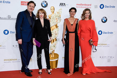 (L-R) German actor Charly Huebner, Austrian actress Birgit Minichmayr, French-Iranian director Emily Atef and German actress Marie Baeumer attend the 68th German Film Awards 'LOLA' in Berlin, Germany, 27 April 2018. The most highly endowed cultural award in Germany is presented in 18 categories by the Deutsche Filmakademie.