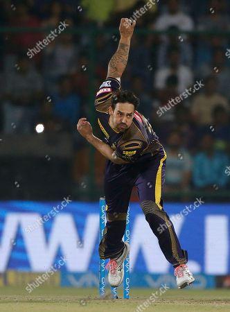 Mitchell Johnson of Kolkata Night Riders bowls during VIVO IPL cricket T20 match against Delhi Daredevils' in New Delhi, India