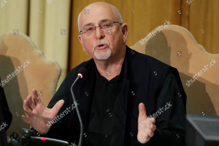 """Composer Peter Gabriel delivers his speech at the """"United to Cure"""" international conference on the cure for cancer, at the Vatican"""