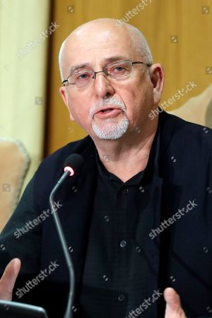 """Stock Picture of Composer Peter Gabriel delivers his speech at the """"United to Cure"""" international conference on the cure for cancer, at the Vatican"""