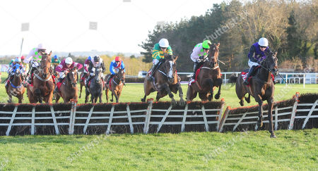 PUNCHESTOWN ANTEY and Katie Walsh (2nd right) beats Shrewd Operator (3rd right) to win the SalesSense International Novice Hurdle. HEALY RACING