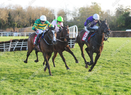PUNCHESTOWN ANTEY and Katie Walsh (centre) beats Shrewd Operator (left) to win the SalesSense International Novice Hurdle. HEALY RACING