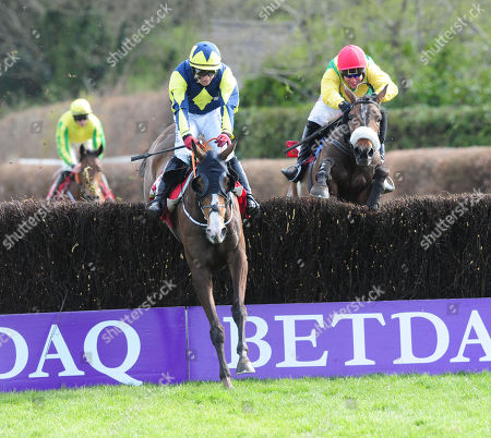 Stock Image of PUNCHESTOWN MAGIC OF LIGHT and Robbie Power (right) chase down Goodthynemilan (left) to win the Hanlon Concrete Irish EBF Glencarrig Lady Francis Flood Mares Handicap Chase. HEALY RACING