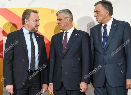 Participants of the Meeting of the leaders of Brdo-Brijuni, Member of the Presidency of Bosnia and Herzegovina Bakir Izetbegovic (L) talks with Kosovo President Hashim Tachi (C) and Montenegro President  Filip Vujanovic (R) during a family photo ceremony in Skopje, The Former Yugoslav Republic of Macedonia (FYROM), 27 April 2018. Balkans presidents, accompanied by Bulgarian Prime Minister Boyko Borissov and President of the European Council Donald Tusk, attended the leaders meeting of the Brdo-Brijuni process in Skopje.