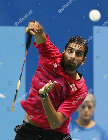Rajiv Ouseph of Great Britain in action against Lucas Carvee of Holland on a men's single quarter final match at the European Badminton Championships in Huelva, southern Spain, 27 April 2018.