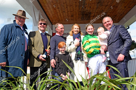 PUNCHESTOWN. Day 5. NINA CARBERRY after her retirement from the saddle with (L-R) Noel Meade, Enda Bolger, Paul Carberry, Pamela Carberry (Mother), daughter Rosie and husband Ted.
