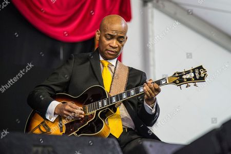 Russell Malone of the Ron Carter Trio performs at the New Orleans Jazz and Heritage Festival, in New Orleans